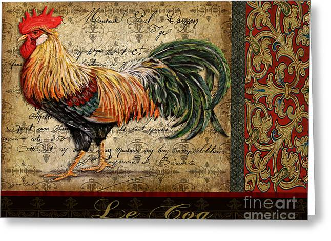 Grungy Paintings Greeting Cards - Le Coq-C Greeting Card by Jean Plout