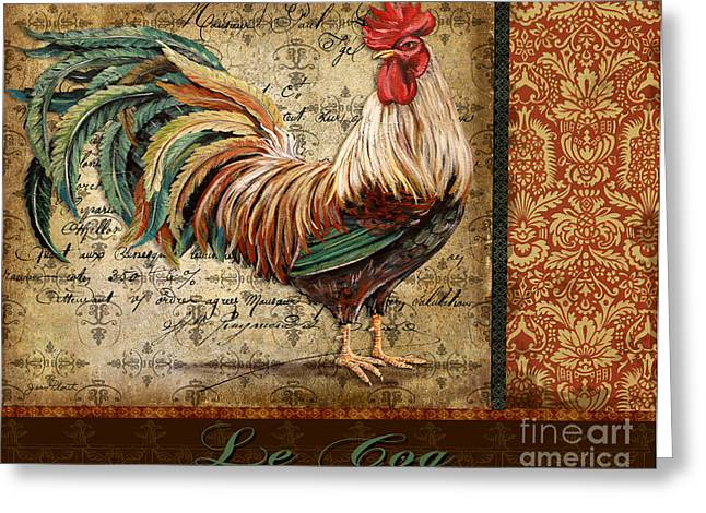 Grungy Paintings Greeting Cards - Le Coq-G Greeting Card by Jean Plout