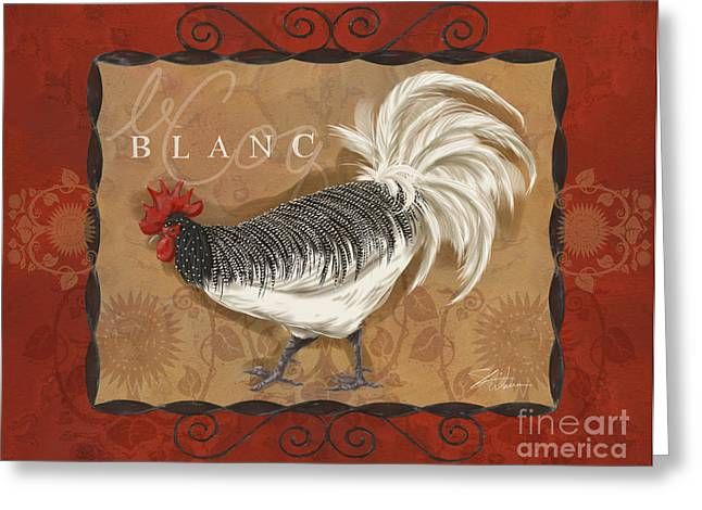 Coq Greeting Cards - Le Coq Rooster Blanc Greeting Card by Shari Warren