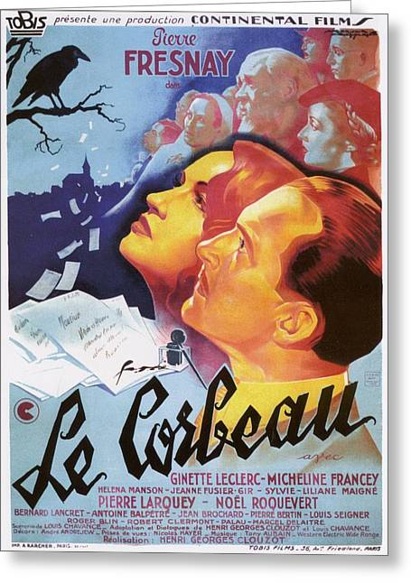 Film Noir Greeting Cards - Le Corbeau - 1943 Greeting Card by Nomad Art And  Design