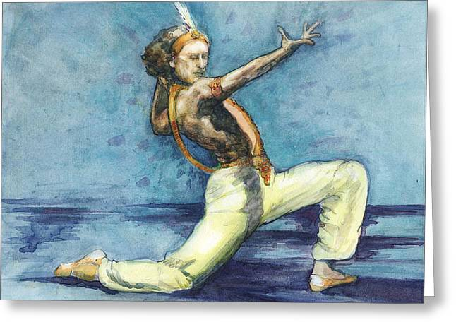 Ballet Dancers Drawings Greeting Cards - Le Corsaire Greeting Card by Lora Serra