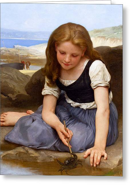 Romanticism Greeting Cards - Le crabe Greeting Card by William-Adolphe Bouguereau