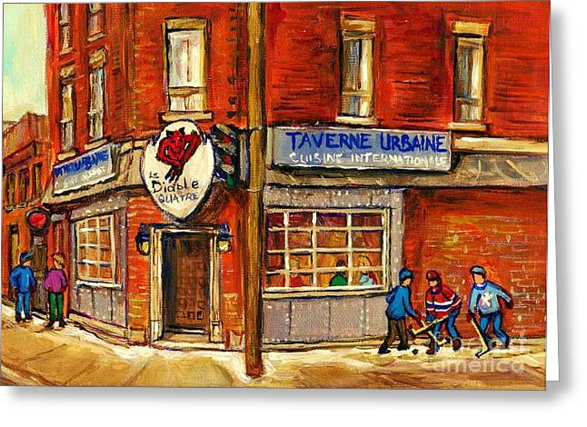 Verdun Food Greeting Cards - Le Diable A Quatre Taverne Urbaine Psc Hockey Art Winter Scenes Montreal Street Scene Specialist  Greeting Card by Carole Spandau