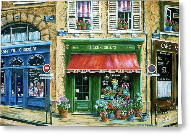 Street Scenes Paintings Greeting Cards - Le Fleuriste Greeting Card by Marilyn Dunlap