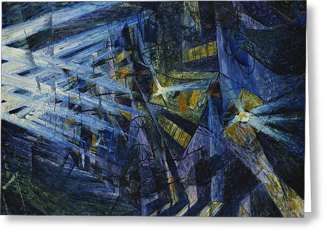 Beam Greeting Cards - Le Forze di una Strada Greeting Card by Umberto Boccioni