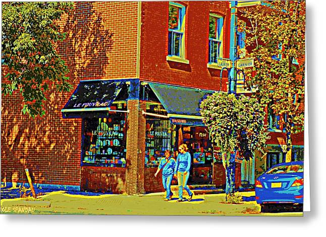 Le Fouvrac Foods Chocolates And Coffee Shop Corner Garnier And Laurier Montreal Street Scene Greeting Card by Carole Spandau