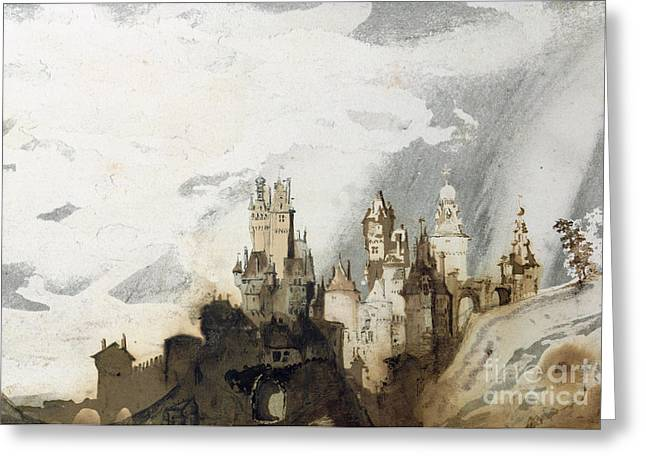Imagined Landscapes Greeting Cards - Le Gai Chateau Greeting Card by Victor Hugo