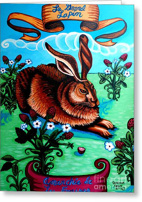 Plant Stretched Canvas Greeting Cards - Le Grand Lapin Anarchie Greeting Card by Genevieve Esson