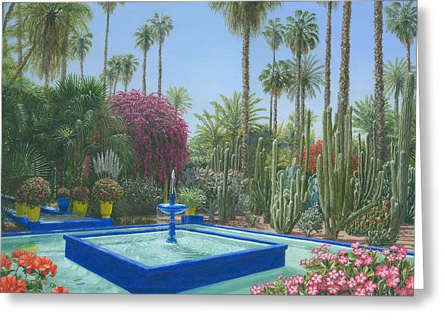 Berges Greeting Cards - Le Jardin Majorelle Marrakech Morocco Greeting Card by Richard Harpum