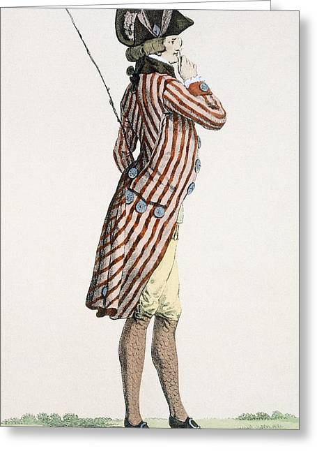 Ogling Greeting Cards - Le Lorgneur, Engraved By Baquoi, Plate Greeting Card by Francois Louis Joseph Watteau