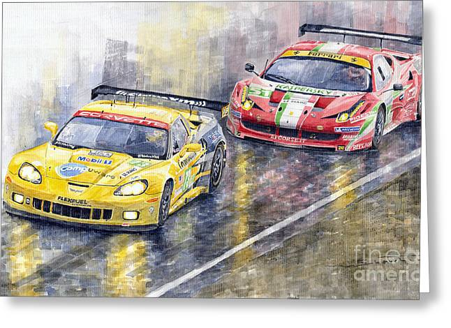 Watercolor Greeting Cards - Le Mans 2011 GTE Pro Chevrolette Corvette C6R vs Ferrari 458 Italia Greeting Card by Yuriy  Shevchuk