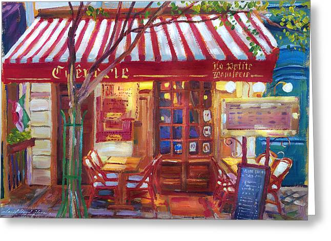 Night Cafe Greeting Cards - Le Petite Bistro Greeting Card by David Lloyd Glover