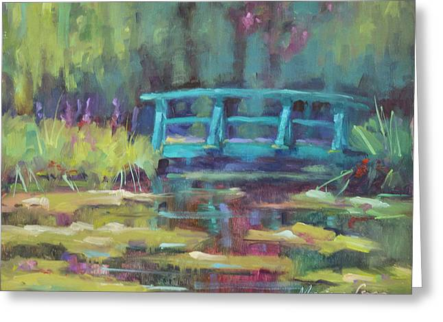Lilly Pads Greeting Cards - Le Pont De Monel Greeting Card by Monique Carr