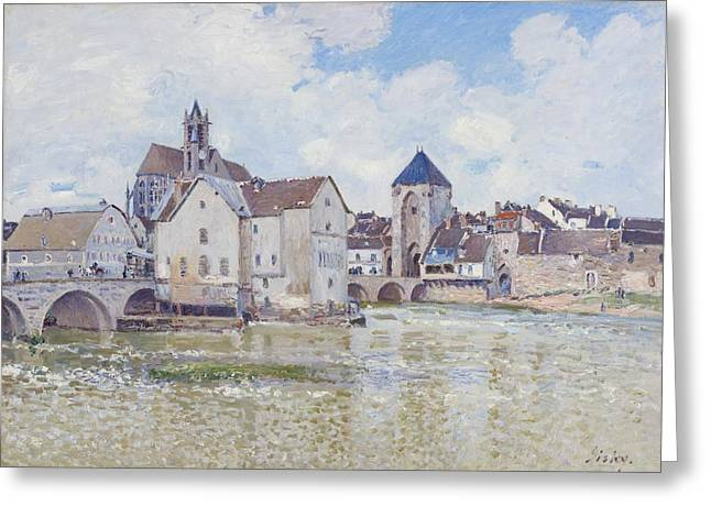 Water Flowing Paintings Greeting Cards - Le Pont de Moret Greeting Card by Alfred Sisley