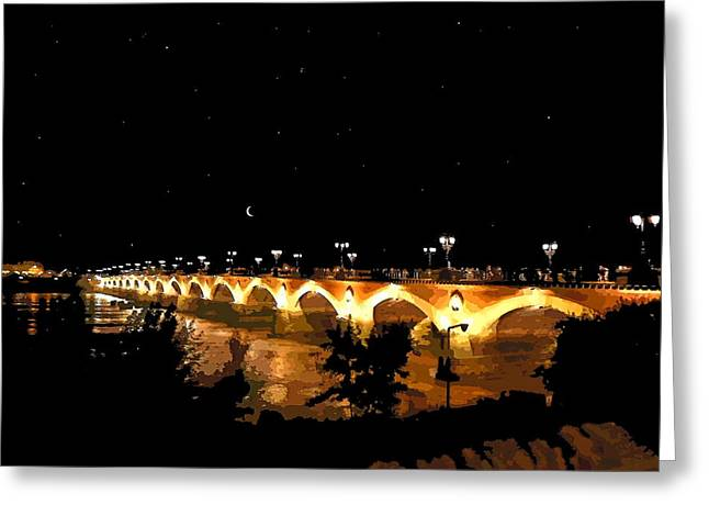 Bordeaux Greeting Cards - Le Pont de Pierre  Greeting Card by Bishopston Fine Art