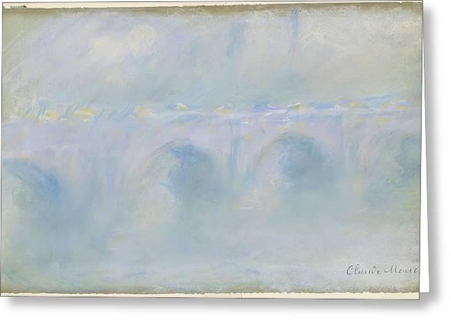 Bridge Pastels Greeting Cards - Le Pont de Waterloo Greeting Card by Claude Monet