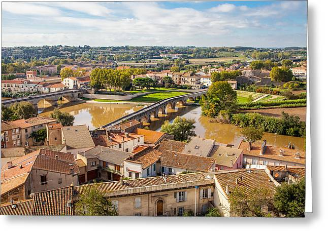 Languedoc Greeting Cards - Le Pont Vieux Beziers France Greeting Card by W Chris Fooshee