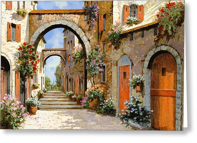 Red Flowers Greeting Cards - Le Porte Rosse Sulla Strada Greeting Card by Guido Borelli