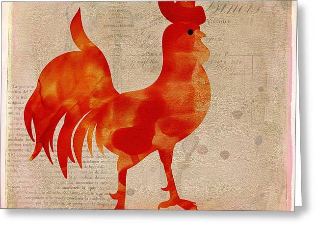 Beige Abstract Greeting Cards - Le Poulet Greeting Card by Terry Fleckney
