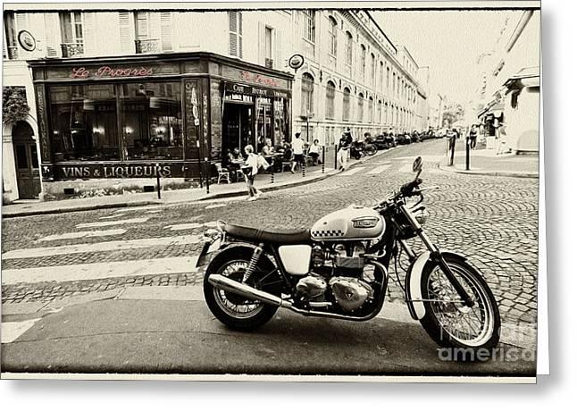 Street Machine Greeting Cards - Le Progres Triumph  Greeting Card by Rob Hawkins