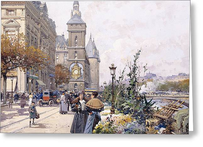 In Bloom Greeting Cards - Le Quai aux Fleurs and Hotel Greeting Card by Eugene Galien-Laloue