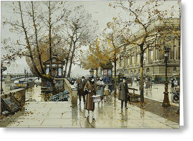 Le Quai De Louvre Paris Greeting Card by Eugene Galien-Laloue