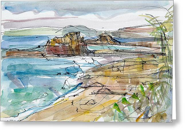 Beach Landscape Greeting Cards - Le Renard Near Guimaec, Brittany Pen & Ink And Wc Paper Greeting Card by Erin Townsend