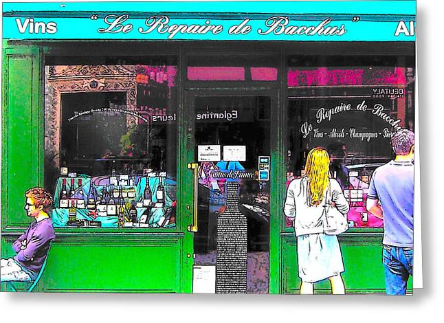 Table Wine Greeting Cards - Le Repaire de Bacchus wine bar in Paris Greeting Card by Jan Matson