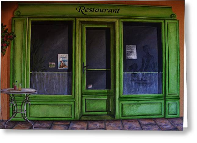 Frontdoor Greeting Cards - Le Restaurant Greeting Card by Dany  Lison