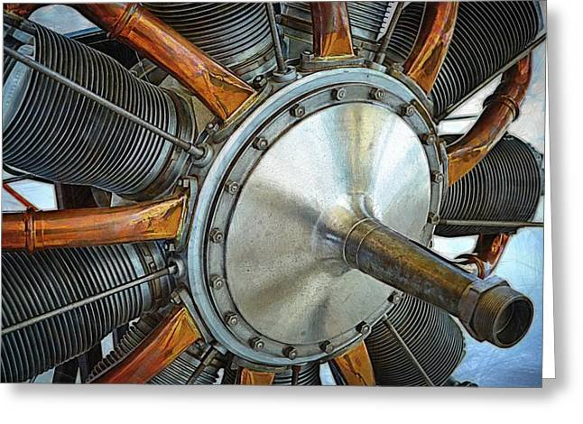 Plane Engine Greeting Cards - Le Rhone C-9J Engine Greeting Card by Michelle Calkins