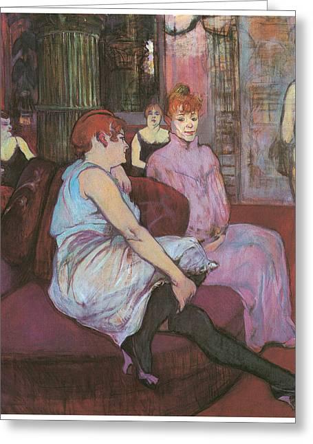 Henri De Toulouse-lautrec Paintings Greeting Cards - Le Salon de rue des Moulins Greeting Card by Henri De Toulouse-Lautred