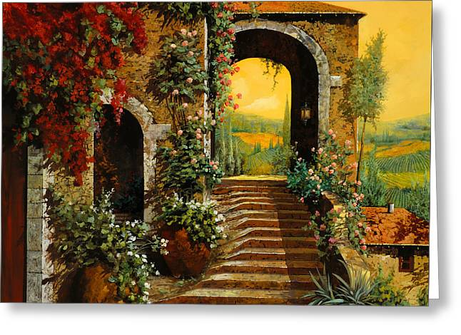 Vineyards Paintings Greeting Cards - Le Scale   Greeting Card by Guido Borelli