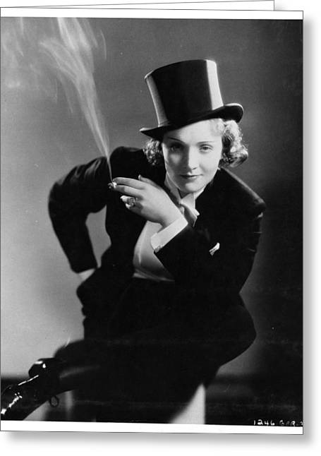 Tuxedo Greeting Cards - Le Smoking - Marlene Dietrich Greeting Card by Nomad Art And  Design