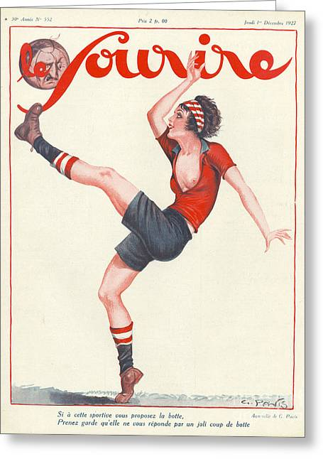 Soccer Drawings Greeting Cards - Le Sourire 1927 1920s France Football Greeting Card by The Advertising Archives