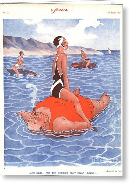 Swimsuits Swimming Costumes Greeting Cards - Le Sourire 1930s France Holidays Greeting Card by The Advertising Archives