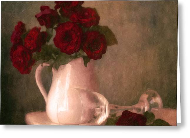 Pitcher Mixed Media Greeting Cards - Le Spectre De La Rose Greeting Card by Georgiana Romanovna