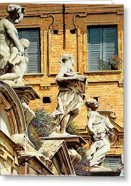 Lake Como Paintings Greeting Cards - Le Statue Greeting Card by Guido Borelli