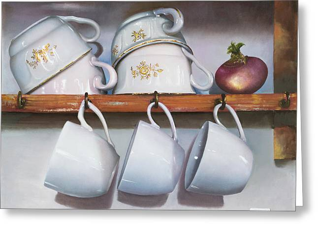 Interior Still Life Paintings Greeting Cards - Le Tazze Greeting Card by Danka Weitzen