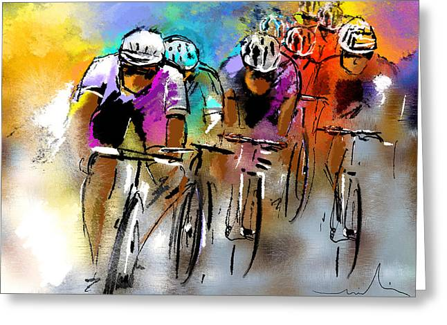 Sports Drawings Greeting Cards - Le Tour de France 03 Greeting Card by Miki De Goodaboom