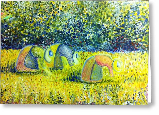 B Russo Greeting Cards - Le tre Mondine Greeting Card by B Russo