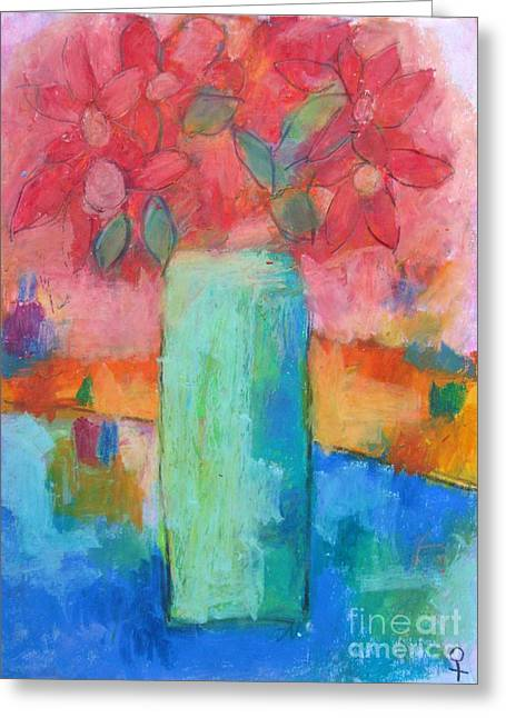 Interior Still Life Pastels Greeting Cards - Le Vase Jardin Greeting Card by Venus