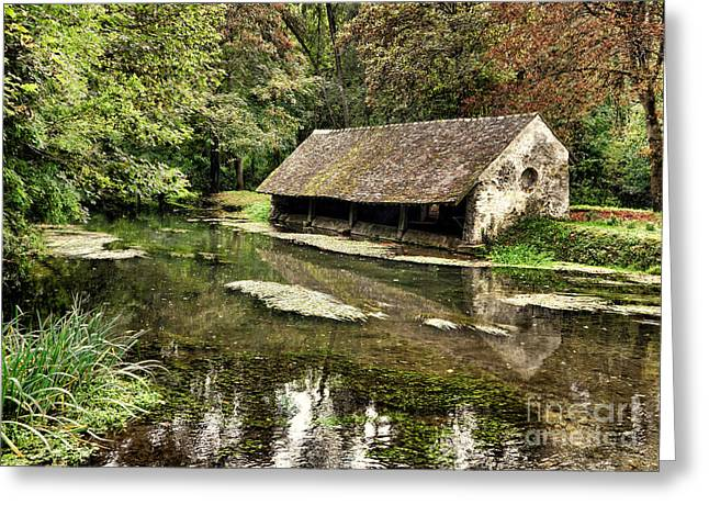 French Laundry Greeting Cards - Le Vieux Lavoir Greeting Card by Olivier Le Queinec