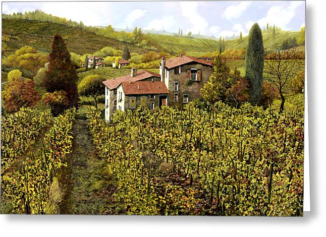 Vineyards Paintings Greeting Cards - Le Vigne Toscane Greeting Card by Guido Borelli