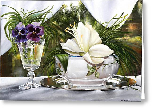Porcelein Greeting Cards - Le Viole Nel Bicchiere Greeting Card by Danka Weitzen