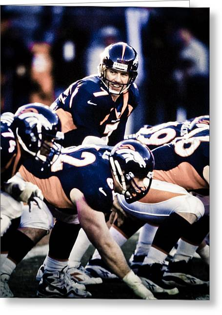 Elway Greeting Cards - Lead Bronco Greeting Card by Jerry Coli