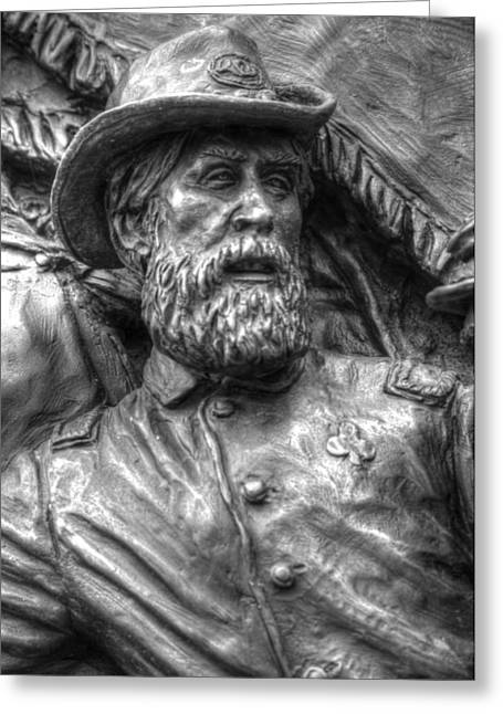 Aotp Greeting Cards - Lead from the Front.  State of Delaware Monument Detail-N Gettysburg Autumn Mid-Day. Greeting Card by Michael Mazaika