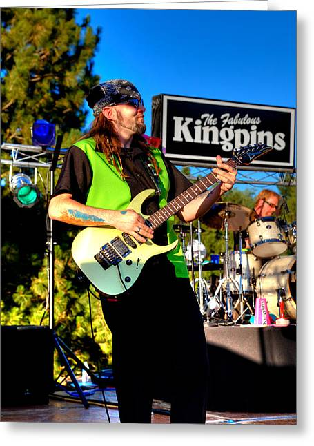 The Kingpins Greeting Cards - Lead Guitarist Jimmy Dence - The Fabulous Kingpins Greeting Card by David Patterson