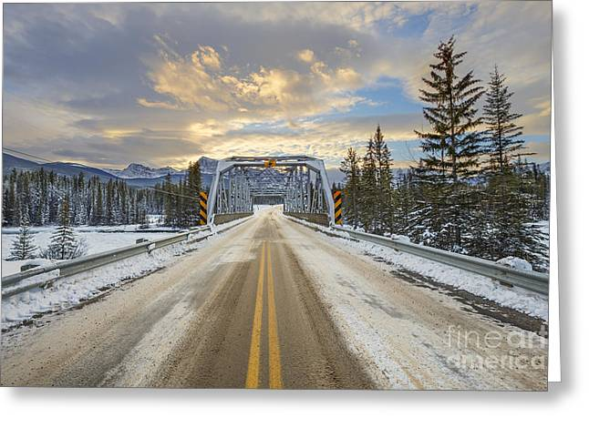 Winter Roads Greeting Cards - Lead Me To The Light Greeting Card by Evelina Kremsdorf