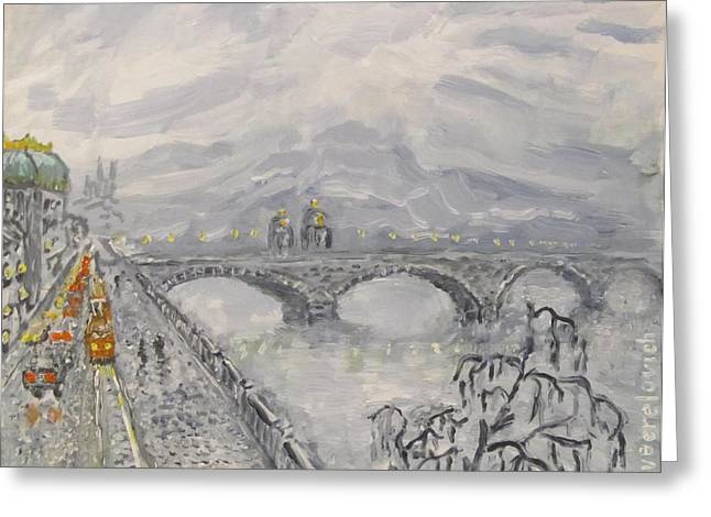 Leaden Winter In Golden Prague  Greeting Card by Victor Berelovich