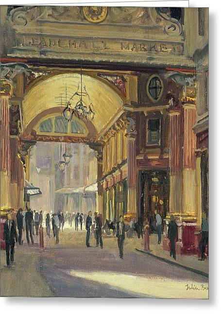 Victorian Photographs Greeting Cards - Leadenhall Market - The Crossroads Oil On Canvas Greeting Card by Julian Barrow